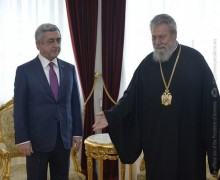 PRESIDENT MET WITH THE ARCHBISHOP OF CYPRUS AND REPRESENTATIVES OF THE ARMENIAN COMMUNITY OF CYPRUS