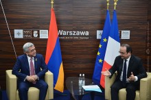 PRESIDENT SERZH SARGSYAN IN WARSAW MET WITH THE PRESIDENT OF FRANCE FRANÇOIS HOLLANDE