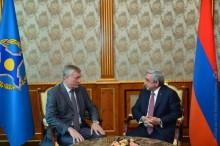 PRESIDENT RECEIVED THE CSTO SECRETARY GENERAL NIKOLAY BORDZYUZHA