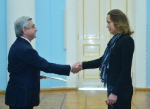 AMBASSADOR OF ESTONIA KAI KAARELSON PRESENTED HER CREDENTIALS TO PRESIDENT SARGSYAN