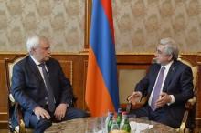 PRESIDENT SERZH SARGSYAN RECEIVED GOVERNOR OF SAINT PETERSBURG GEORGI POLTAVCHENKO