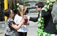 Greeting cards and roses on behalf of Mayor Taron Margaryan